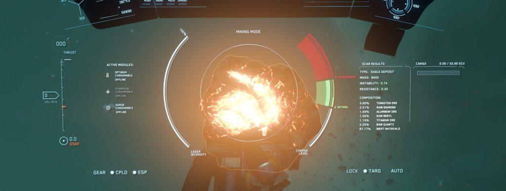 Interface de minage sur Star Citizen